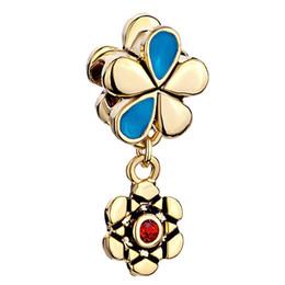 China manufacturer Christmas Gold Plated Flower Dangle Spacer metal slide bead European charm fit Pandora Chamilia Biagi charm bracelet