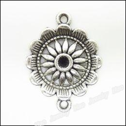 Charms Antique Plated Silver Zinc Alloy Flower Connectors Fit Pendant Bracelet Necklace DIY Jewelry 70pcs