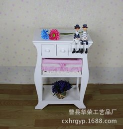 Wholesale Pastoral wood bedside cabinet storage cabinet cabinet white rattan furniture fashion phone cabinet Chests