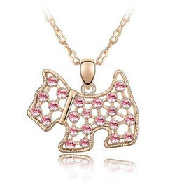Charm Jewelry Cute Dog Austrian Crystal Pendants Necklaces 18K Rose Gold Filled Woman Elegant Party Accessories Hot 4628