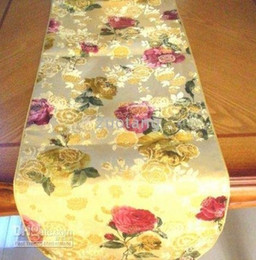 Gold Damask Table Runner Modern Continental flowers Coffee Tablecloth Decorative Luxury Bed Runners 1pcs Free shipping