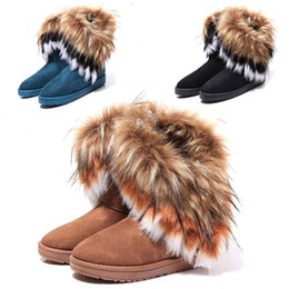 Wholesale 2016 New Designer Brand Shoes Woman Platform Artificial Fox Rabbit Fur Boots Girls Shoes Winter Women Ankle Boots High Knee Snow Boots