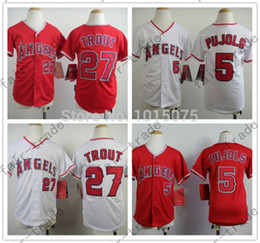 Wholesale Youth Los Angeles Angels Jersey Mike Trout Albert Pujols White Red Kid S M L XL