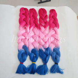 Kanekalon Jumbo Braid Hair Senegalese Twist 82inch 165g Red&Pink&Blue Ombre three tone color xpression synthetic Braiding hair Extensions