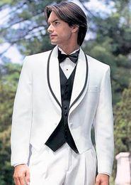Wholesale New popular double guide design white tuxedo groom dress men s wedding dress wedding dress coat pants vest
