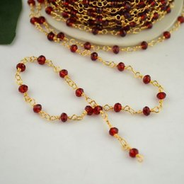 Wholesale! 4MM Wire Wrapped Beaded Chains 24k gold plated Rosary chain Red color faceted Crystal beads jewelry making