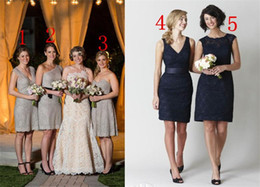 Short Lace Bridesmaid Dresses 2014 Sheath Knee Length Blue Champagne 5 Styles Vestidos New Arrival Brides Gowns For Wedding Party
