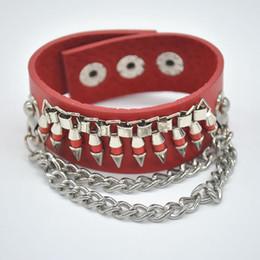 Hot !!! Punk Hip-hop Men Bracelet Multi Layer Leather Chain Bullet Hand Chain Wrap Bracelets Jewelry Y60*SS1087#M5