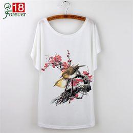 Promotion imprimé floral t-shirts femmes Floral Print Graphic Tees 2015 T-shirt Casual Femmes Hauts Fleurs T-shirt à manches courtes femmes T-shirt Femme O-cou T-shirt lâche