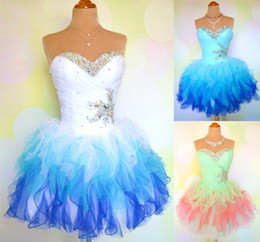 Wholesale Beautiful New Multi Colored Cocktail Homecoming Dresses Sweetheart Ruffle Beaded Short Prom Graduation Dresses Size