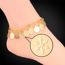Women Romantic Snowflake Coins Charms Ankle Chains 18K Real Gold Platinum Plated 18K Stamp Bracelets Anklets
