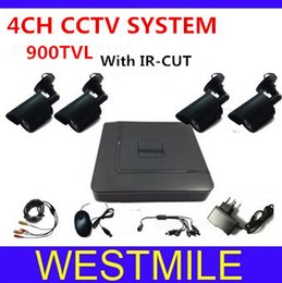 4CH CCTV System DVR Kit 900TVL Indoor outdoor CCTV Cameras 4 Ch DVR Recorder Free Shipping
