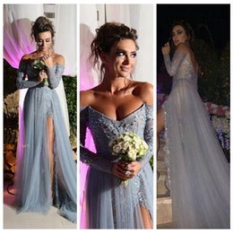 Hot 2019 Vestido Backless Prom Dresses A-Line Off-Shoulder Gray Lace Crystal Beaded Long Sleeve Formal Evening Gowns Party Dresses Arabic