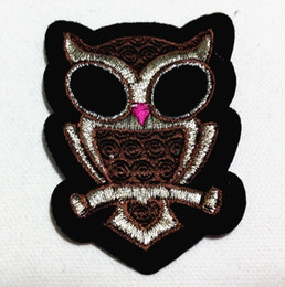 Wholesale Pale Brown Gold Brown Owl (5cm x 7.5cm) Embroidered Applique Iron On Patch Kid Patch (AL)