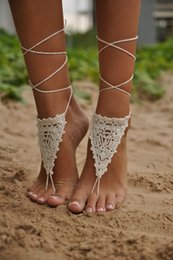 Wholesale CYBER MONDAY SALE Crochet Ivory Barefoot Sandals Nude shoes Foot jewelry Wedding Victorian Lace Sexy Yoga Anklet Bellydance Steamp