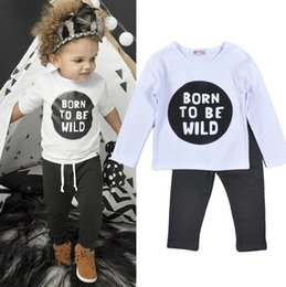 2016 Baby 2pcs sets boy girl Born To Be Wild printed outfit children spring fall long sleeve T-shirts + gray pants kids clothes RK835638