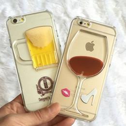 2017 cas transparents pour iphone 4s Mode Verre à vin Verre Beer Cocktail Moving Liquide 3D Transparent Phone Case Couverture Pour iPhone 4 4s 5 5S 6 6 Plus Samsung Note 4 S5 cas transparents pour iphone 4s sur la vente
