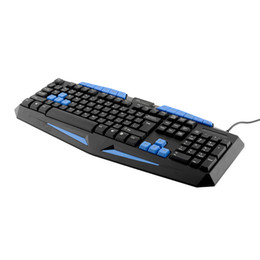 Teclado para juegos de luz de fondo azul en venta-Al por mayor-Internet con conexión de cable del juego impermeable profesional teclado del juego alegremente azul retroiluminación del teclado Gaming X7 Durable
