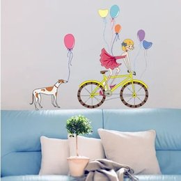 Wholesale Bike Girl And Dog With Colour Balloon Wall Stickers For Kids Rooms Home Decoration Cartoon DIY Pegatinas De Pared
