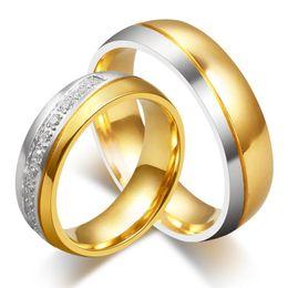 Bague de fiançailles en titane or à vendre-nouveaux anneaux CZ couple de mariage de diamant pour les amateurs 18k hommes et les femmes de fiançailles en or anneau de bande bijoux