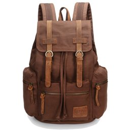 Wholesale-Genuine leather+canvas retro men backpacks vintage brown men canvas backpack large capacity travel hiking bags for women A31