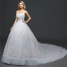 Shanghai Story Lace Train Wedding Dresses Strapless Ball Gown Wedding Dress With Crystal and Beaded 2016