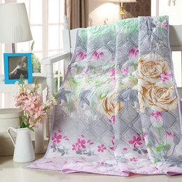 Wholesale-Home Quilt printed summer thin comforter Filled with synthetic fibers Twin Queen King Full size Duvet   Blanket   white   pink