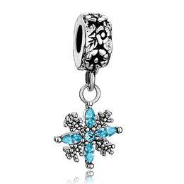 Professional manufacturer Christmas snowflake Dangle Spacer metal slide bead European charm fit Pandora Chamilia Biagi charm bracelet