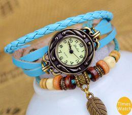 vintage watch New arrival Fashion vintage retro beaded braided rope bracelet wrap quartz cow leather wrist watch women for fift