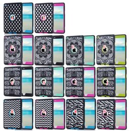 Promotion mélanger le cas de la mode Mode 3 en 1 étui Hybrid Laser Dot Elephant lourd Zebra Vague Polka Pour iPad Mini 4 mini4 dur PC + silicone souple Duty CSunflower sur la peau