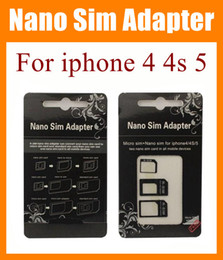 3 in 1 Nano Sim Adapter Micro SIM Nano Sim dual Two nano sim card in ALL mobile devices multi sim adapter for iphone 4 4s iphone 5 OTH023