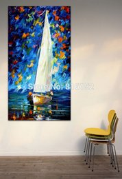 Palette Knife Painting Night Resting Sailing Boat Sunset Seascape Picture Printed On Canvas For Office Home Wall Art Decor