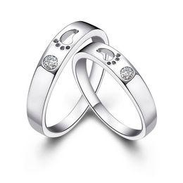 Sale Discount Unique Toe Couple With CZ Diamond Rings Men Woman Anel Jewelry Romantic Cute Forever Love Valentine's Day