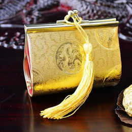 Handicraft Decorative Small Candy Boxes Iron clamp Silk brocade Gift packaging Pouches 10pcs  lot mix Color Free shipping