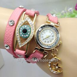 Girl Vintage Leather Bracelet Moon Star Pendant Strap Casual Watches Analog Crystal Gold Eye Women Ladies Quartz watch New 2015