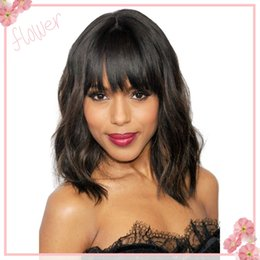 8A malaysian virgin human hair wigs short cut bob full lace wigs & front lace wigs natural wave wavy with bangs for black women