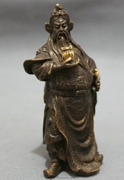 Wholesale Chinese Bronze Dragon Head Sword Warrior GuanGong GuanYu God Hold Seal Statue
