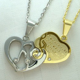 Engagement Couple Heart engraved I Love You Stainless Steel Necklace N74