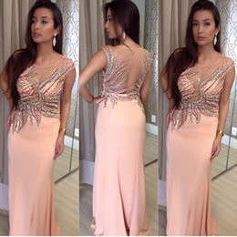 Stunning Crystal Bead Sequins Sheer Neck Slim Fit Long Formal Evening Dresses Cap Sleeve Sexy Elegant Party Prom Dress Gowns See Through