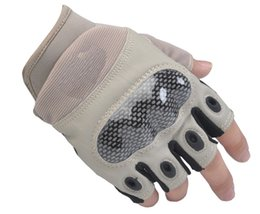 Wholesale Military Tactical Half Finger Gloves Whole Palm Goat Skin Material Outdoor Hunting Half Finger Gloves Comfortable And Durable Outdoor Sports