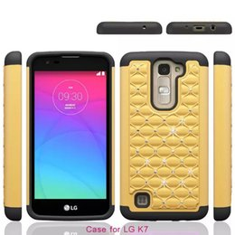 Wholesale Lg Optimus Plastic Cover - Bling Diamond Square Starry Hybrid Cases For LG K10 K7 M1 G5 optimus Zone 3 vs425 Hard PC+Soft Silicone Luxury Cover Dual color Rugged Skin