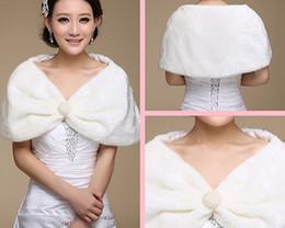 White Faux Fur Bridal Wraps Women Shawl Cape Stole Wedding Bridal Shrug Wrap Cape Shawl Wrap For Bride with Pearls Button Free Shipping
