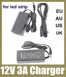 Promotion 12v ac chargeur ac / dc adaptateur d'alimentation du chargeur d'alimentation de l'adaptateur femelle mâle prise électrique adaptateur DC 12V 3A / AC 110-240V pour bande LED rgb 5050 DY002