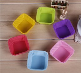 Wholesale 7cm Square Shape Colored Silicone Muffin Cup Food Grade Cake CupCake Fondant Mold Baking Tool Kitchenware