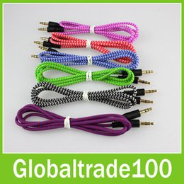 Wholesale 1M Wave Braided Nylon Audio Auxiliary Cable AUX Extension mm Jack Male to Male Stereo Cord For iPhone Samsung