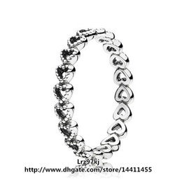 High quality 100% 925 Sterling Silver Linked Love Ring with Clear CZ European Style Jewelry Charm