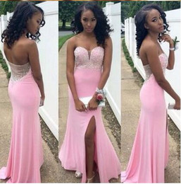 Vestido De Festa pink Prom Dress off the shoulder Sweep Train 2016 Long Side Split evening Party Dress formal gown