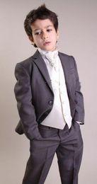 Wholesale Charcoal Suit Silver Tie - Hot Sale Charcoal Boy Suit Three Buttons Formal Occassion Wear Wedding Party Dress(Jacket+Vest+Pants+Tie)