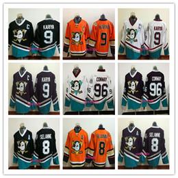 Vintage 9 Paul Kariya 96 Charlie Conway 8 Teemu Selanne Ducks Stadium Series Purple Red Black White Orange Black