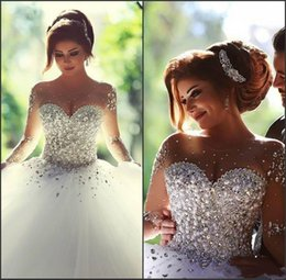 Wholesale Real Image Wedding Dresses Long Sleeves Crystal Quinceanera Dress Elegant Lace Up Sheer Illusion Crew Neck Ball Gown Bridal Gowns